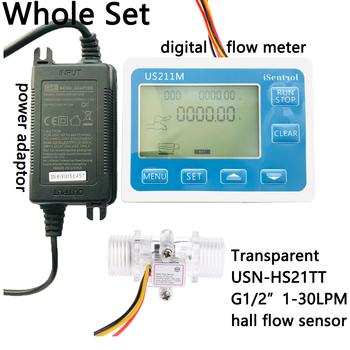US211M cyfrowy miernik przepływu Totalizer pomiar przepływu z nylonowym czujnikiem przepływu wody USN-HS21TT G1 2 #8222 przepływomierz turbinowy iSentro tanie i dobre opinie Ultisolar CN (pochodzenie) Hydraulika US211M-USN-HS21TT 1-30 Mężczyzna BSPP Gwint 1 2