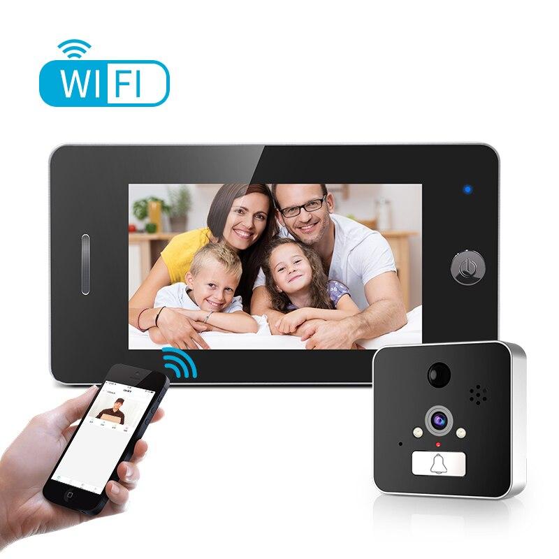 Caméra de visionneuse de porte WIFI 4.3 pouces HD moniteur de caméra de judas Intelligent Support détecteur de moniteur PIR et fonction de Vision nocturne