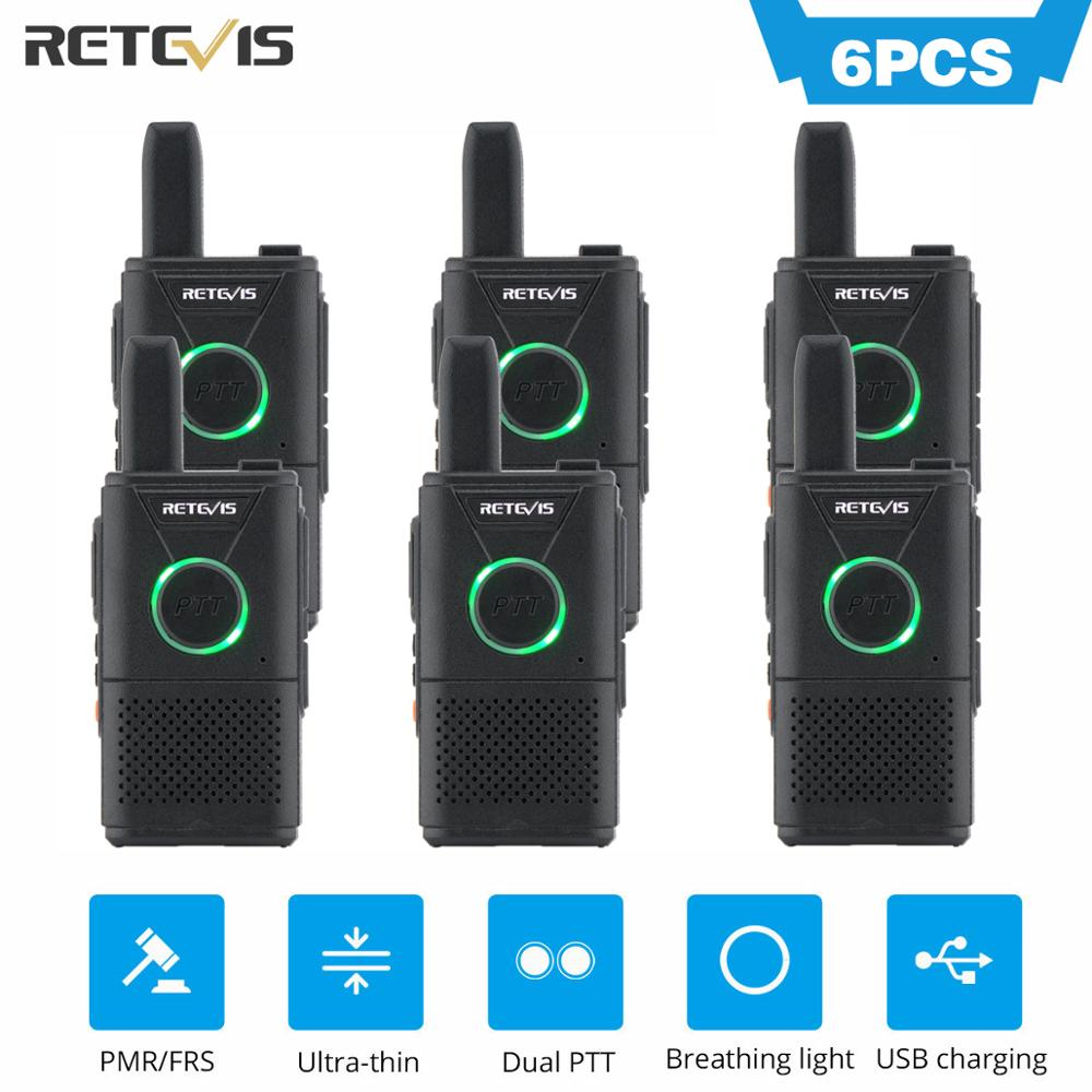 Mini Walkie Talkie 6pcs Retevis RT618/RT18 Radio Station Ultra-thin Dual PTT Two Way Radio Portable FRS PMR446 Frequency Hopping