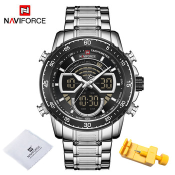 NAVIFORCE Mens Military Sports Waterproof Watches Luxury Analog Quartz Digital Wrist Watch for Men Bright Backlight Gold Watches 13