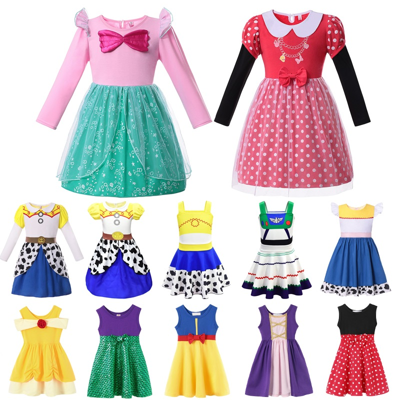 VOGUEON Girl Princess Party Dress Summer Pageant Ariel Minnie Jasmine Rapunzel Toy Story Fancy Costume For Halloween Photography