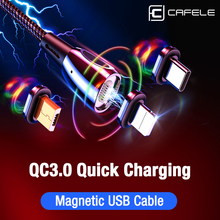 CAFELE Magnetic USB Cable QC3.0 Type C Micro for iPhone XS MAX XR X Data Sync Charger USB-C Wire 120cm