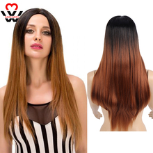 MANWEIWomen Long Straight Ombre Synthetic Wig For Pink/Red/Purple/Blue Middle