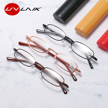 UVLAIK чтение очки женщины мужчины портативный мини дальнозоркость очки металл пресбиопия с диоптриями маленький чехол +1,5 2,0 2,5 3,0 3,5