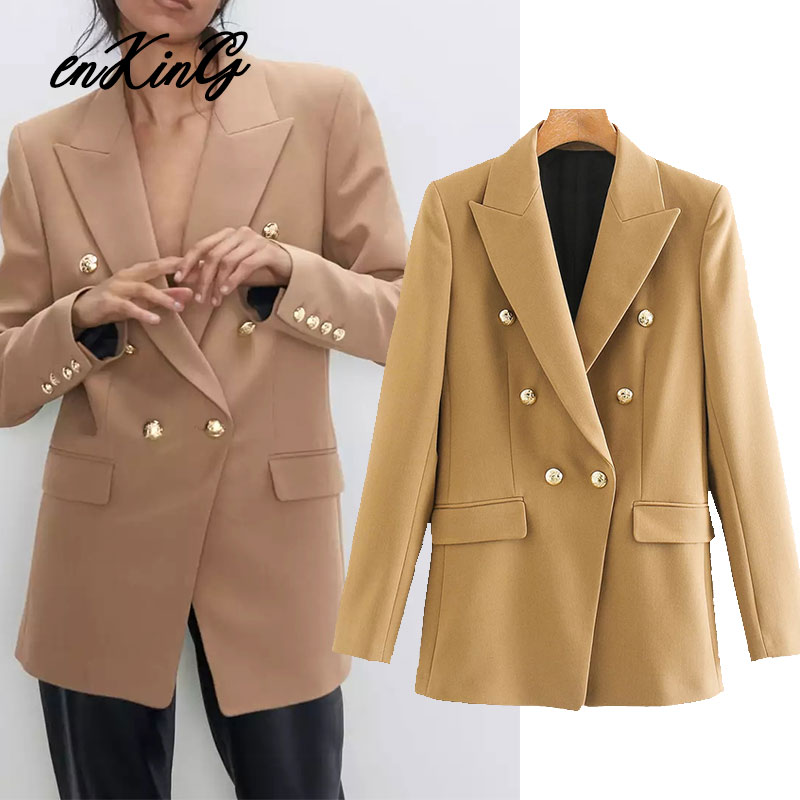 2020 Spring England Vintage Notched Long Sleeve Solid Casual Za Blazer Double Breasted Blazer Women Blazer Mujer 2020 Jacket