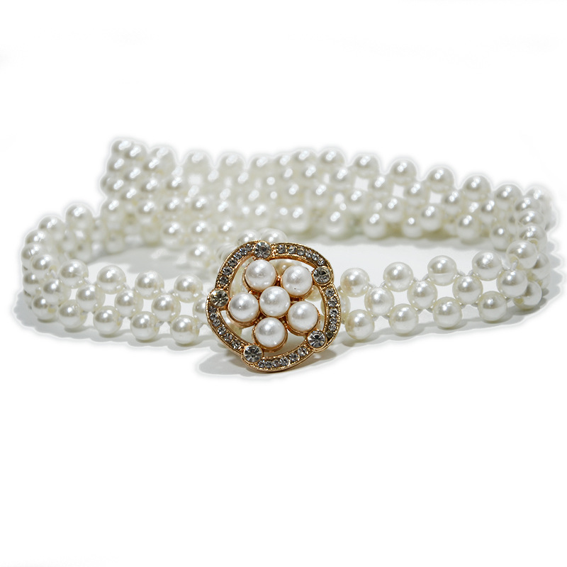 Luxury Brand 2020 New 2CM Wide Pearl Buckle Women's Thin Belt Rhinestone Inlaid Decorative Elastic Body Chain Bg-1241