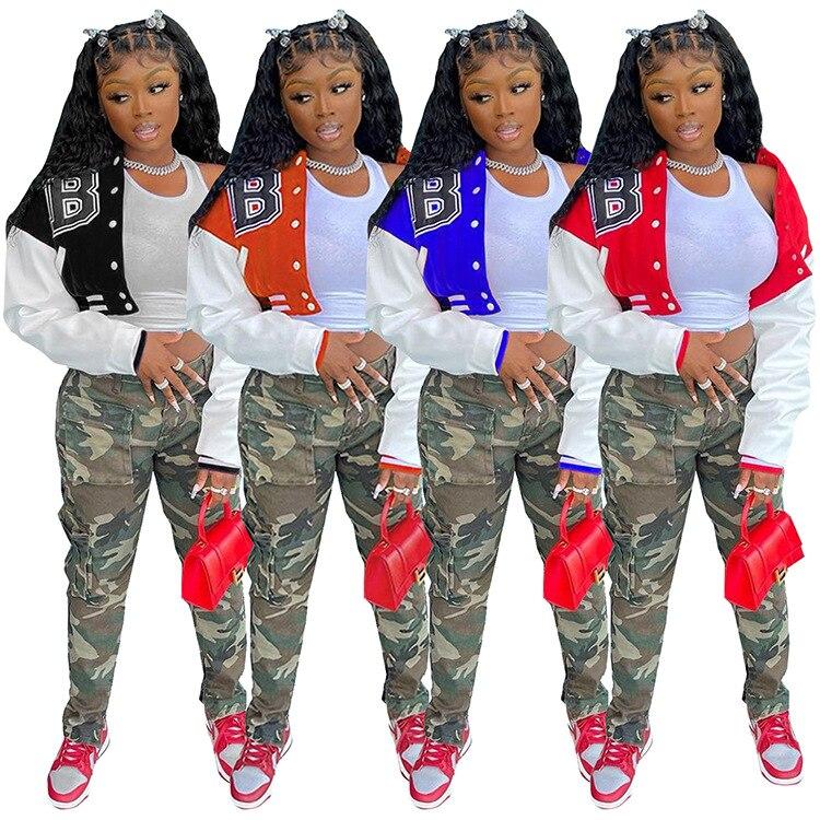 H4944a3ad11a34083ab8c30e5e427a383d Baseball Jackets for Women 2021 Autumn Letter Print Color Patchwork Cropped Long Sleeve Loose Short Bomber Jacket