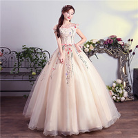 New Arrival Vestidos de Quinceanera Ball Gown V Neck Lace Beaded Open Back Sweet 16 Girls Quinceanera Dresses 2019