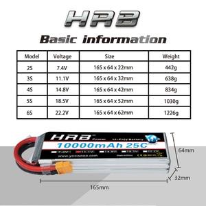 Image 2 - Аккумулятор HRB RC Lipo 2S 3S, 10000 мА/ч, для радиоуправляемого вертолета, беспилотника XT60, 6S, 7,4 В, 11,1 В, 14,8 в, 22,2 в, в, 25C MAX, 50C, XT60 T