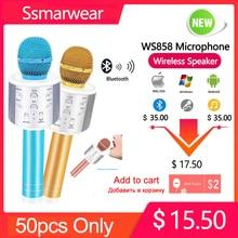 цена на WS858 Bluetooth Wireless Microphone Professional Handheld Karaoke Speaker Birthday Party Machine For IPhone Android PC Phones