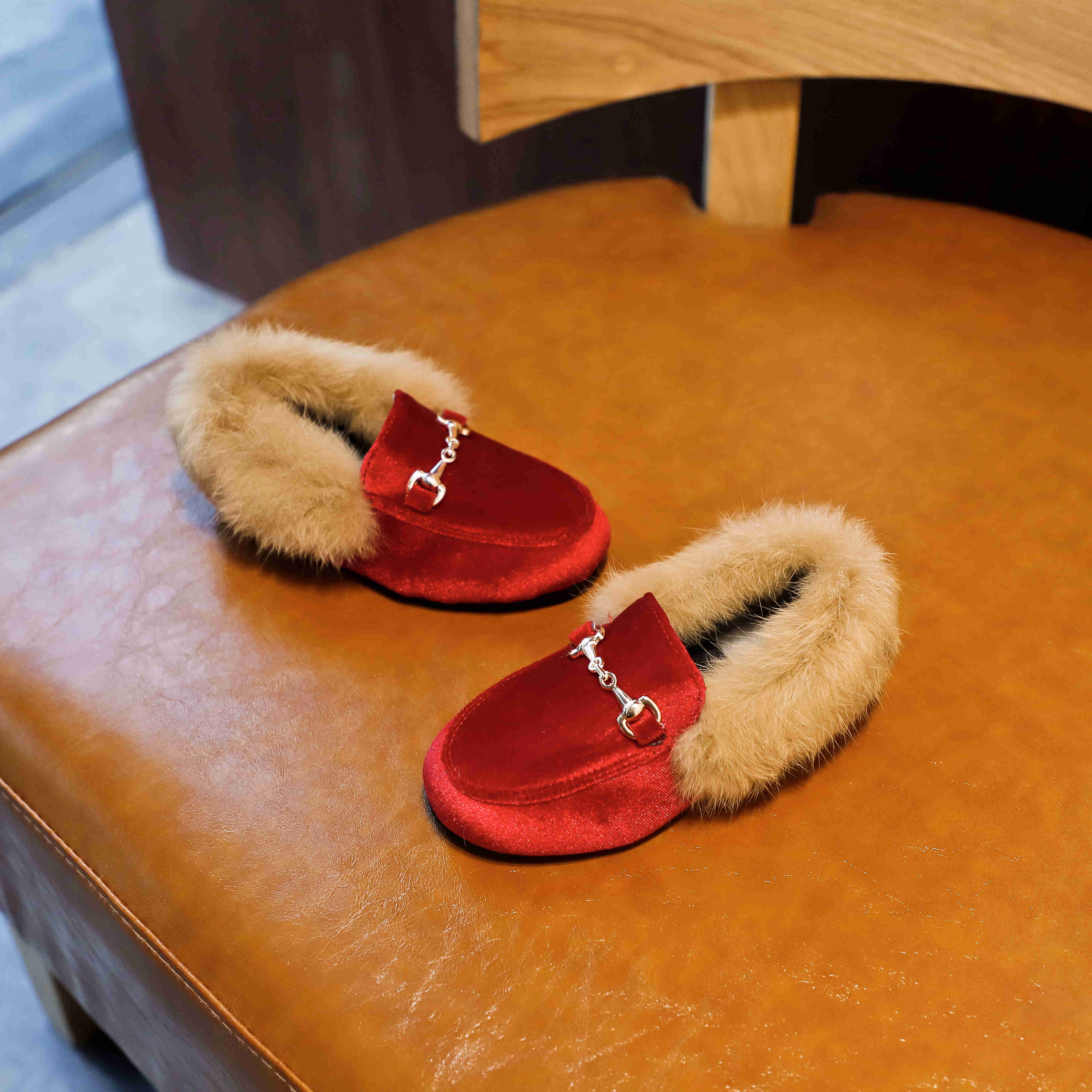 Boys Girls Velvet Loafer Best Sell New Winter Warm Kids Fur Shoes Size 21-35 Flat Princess Girls Shoes