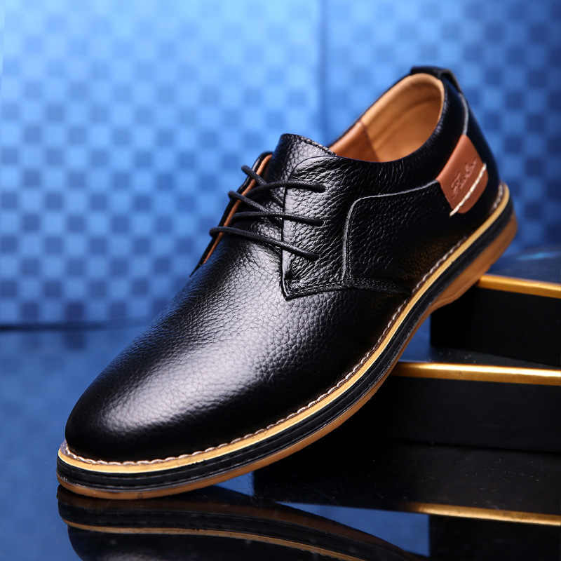 Men Oxford Genuine Leather Dress Shoes Brogue Lace Up Flats Men Casual Moccasins Fashion Office Walking Footwear 2020