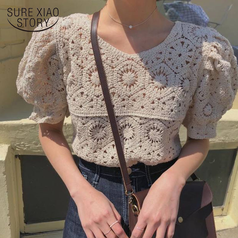 2020 Spring And Summer Hollow Out Sexy O-neck Short Sleeve Women Tops Solid Cotton Sweet Puff Sleeve Knitted Shirt Women 9591