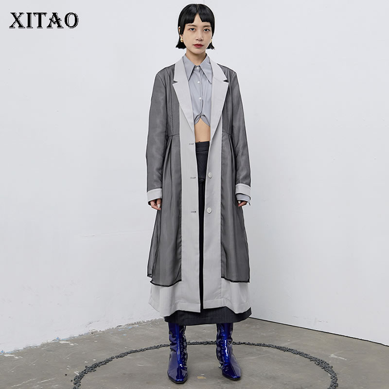 XITAO Mesh Hit Color   Trench   Women Pleated Single Breast False Two Piece 2019 Autumn Patchwork Turn Down Collar Coat GCC2187