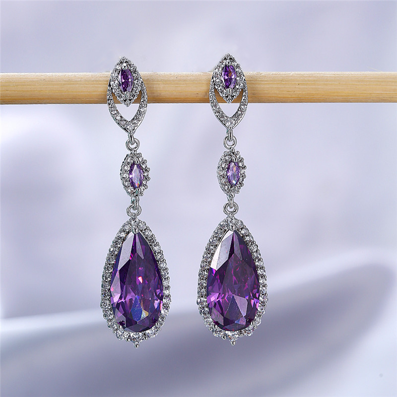 Dainty Female Purple Zircon Drop Earrings Silver Color Geometric Dangle Earrings Classic Rainbow Long Wedding Earrings For Women