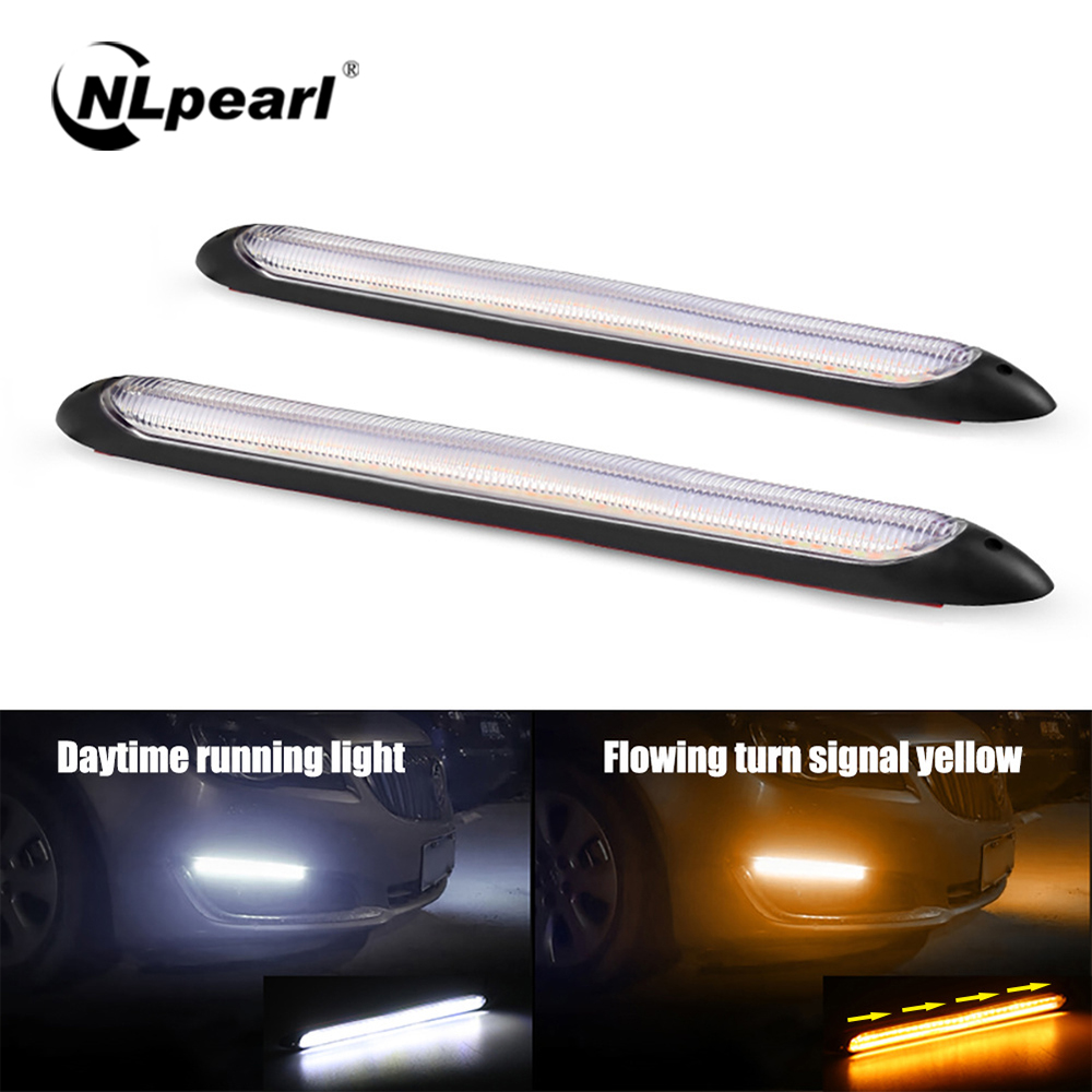 NLpearl 1pair Bright DRL LED Daytime Running Light for Car Headlights 12V Sequential DRL LED Strip White Turn Signal Yellow Lamp