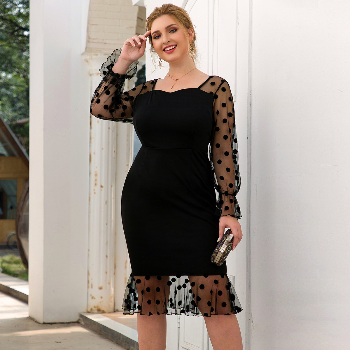 Plus Size Short Lace Evening Dresses Dot Square Collar Full Sleeve See-Through Draped Sexy Mermaid Party Gowns Robe De Soiree