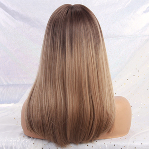 Image 5 - Long Straight Synthetic Wigs With Bangs Ombre Dark Brown to Gray Wigs for Women Cosplay Natural Hair Wig Heat Resistant Fiber