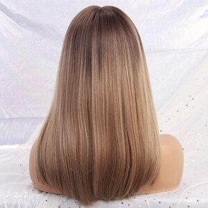 Image 5 - Pelucas sintéticas largas y rectas con flequillo pelucas de color marrón oscuro a gris para mujeres, peluca de pelo Natural Cosplay, fibra resistente al calor
