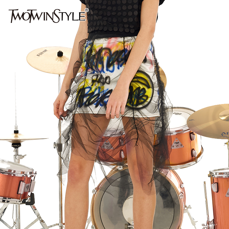 TWOTWINSTYLE Patchwork Mesh Skirts For Female High Waist Print Letters Ruched Asymmetrical Skirt Women Fashion 2020 Clothing New