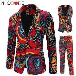 Neue 3 Stück Männer Anzüge Sets Mode Einreiher Gedruckt Floral Smoking Anzug Jacke Beiläufige Dünne Blazer Weste Hose Kostüm homme
