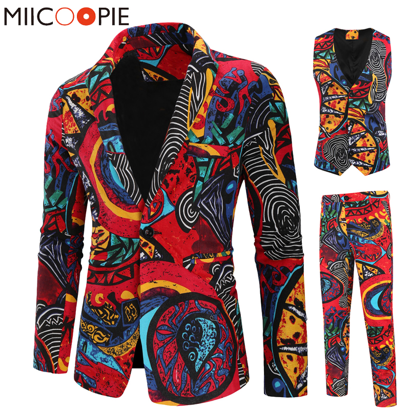 New 3 Piece Men Suits Sets Fashion Single Breasted Printed Floral Tuxedo Suit Jacket Casual Slim Blazer Vest Pant Costume Homme