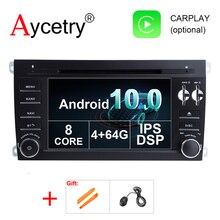 DSP IPS 2 Din Android 10เครื่องเล่นดีวีดีมัลติมีเดียระบบนำทางGPSสำหรับPorsche Cayenne 2003 2010วิทยุFmสเตอริโอObd2