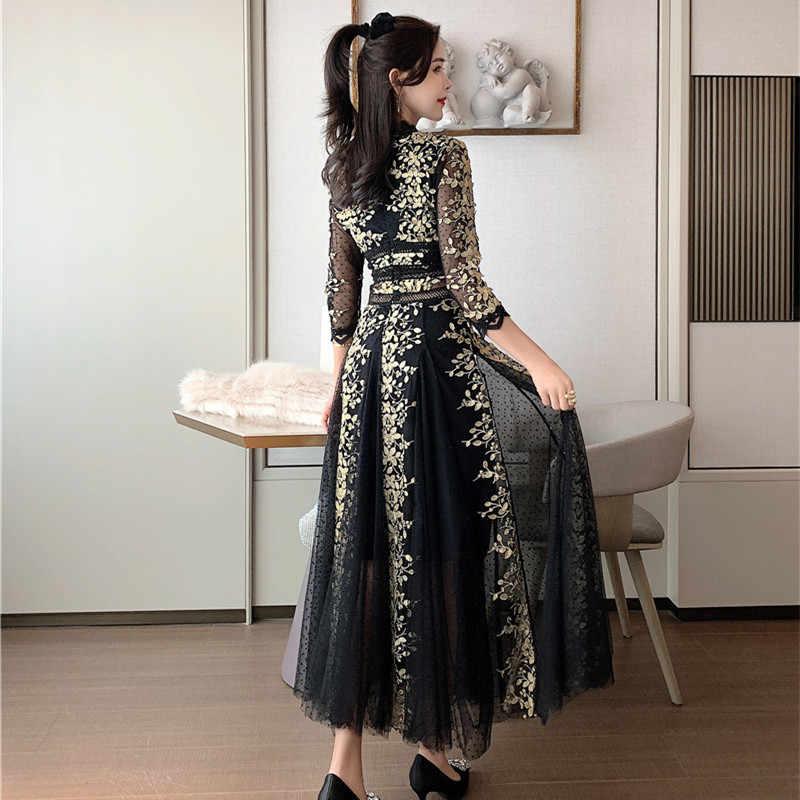 Alta qualidade 2020 primavera sexy v-neck três quartos manga malha bordado polka-dot vestido elegante magro drapeado festa vestido longo