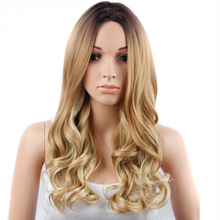 GRES Women Ombre Wigs for White Wave Synthetic Hairpieces Blonde Wig