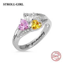 цены Strollgirl Authentic 925 Sterling Silver Custom Heart Birthstone Engraved Names Ring for Women Wedding & Anniversary Jewelry