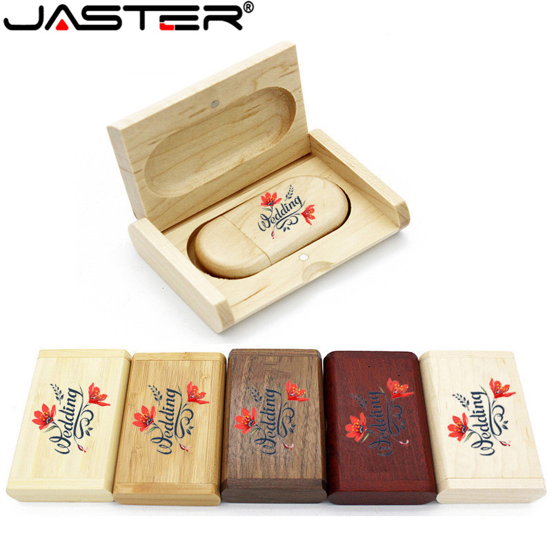 JASTER Wholesale High Quality Wooden Logo Engrave Wood USB Flash Drive 4GB 8GB 16GB 32GB Gift Flash Memory Card Pen Drive
