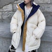 2021 Winter Oversize Jacket Female Coat Patchwork Windbreaker Women Padded Zip Outwear Parka Thick Streetwear Overcoat Warm