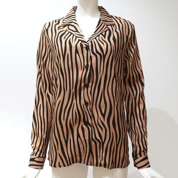 Women Blouses Long Sleeve Turn Down Collar Chiffon Blouse Fashion Zebra Print Office Shirt Casual Tops Plus Size Chemisier femme 5