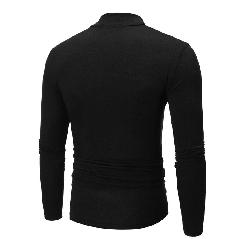 Brand New Gothic Men Turtelneck Sweater Pullover Long Sleeve Stretch Slim Basic Sweater Turtleneck Male Blouse Spring Clothes 5
