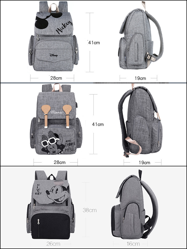 Disney Pre-design Cartoon Baby Diaper Bag Waterproof Baby Bag Organizer Nappy Maternity Bag For Stroller Mom Travel Free Hooks