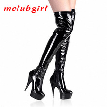 Fashion Boots Over-The-Knee-Boots High-Heel Black Mclubgirl Elastic-15cm Women YKC-A-010