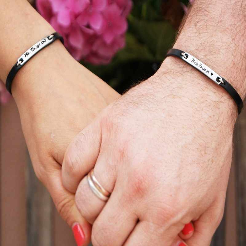 Męska bransoletka z prawdziwej skóry pary ID bransoletka ze stali nierdzewnej niestandardowe miłość opaski dla niej i jego biżuterii