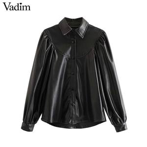 Image 1 - Vadim 女性エレガントな pu レザーブラウスロングランタンターンダウン襟シャツ女性の基本的なシックなトップス blusas LB738