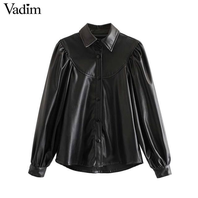 Vadim 女性エレガントな pu レザーブラウスロングランタンターンダウン襟シャツ女性の基本的なシックなトップス blusas LB738
