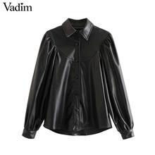 Vadim women elegant PU leather blouse long lantern sleeve turn down collar shirts female basic chic tops blusas LB738