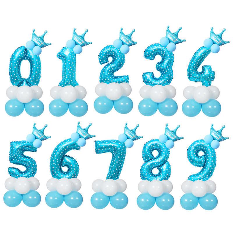 15 piezas globo de cumpleaños azul Rosa hoja número globo 1 2 3 4 5 6 7 8 9 años feliz globo Digital decoración boda fiesta de cumpleaños