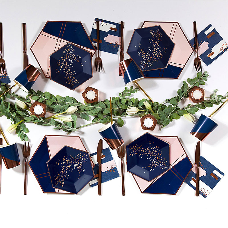 Navy Blue Pink Rose Gold  Foil Party Disposable Tableware Lattice Paper Plate Cups Napkins For Wedding Birthday Baptism Decor