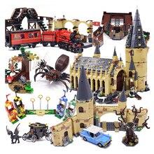 Film Harri Pottered Hogwarte Burg Express Zug Magie Haus Baustein Ziegel Spielzeug für Kinder
