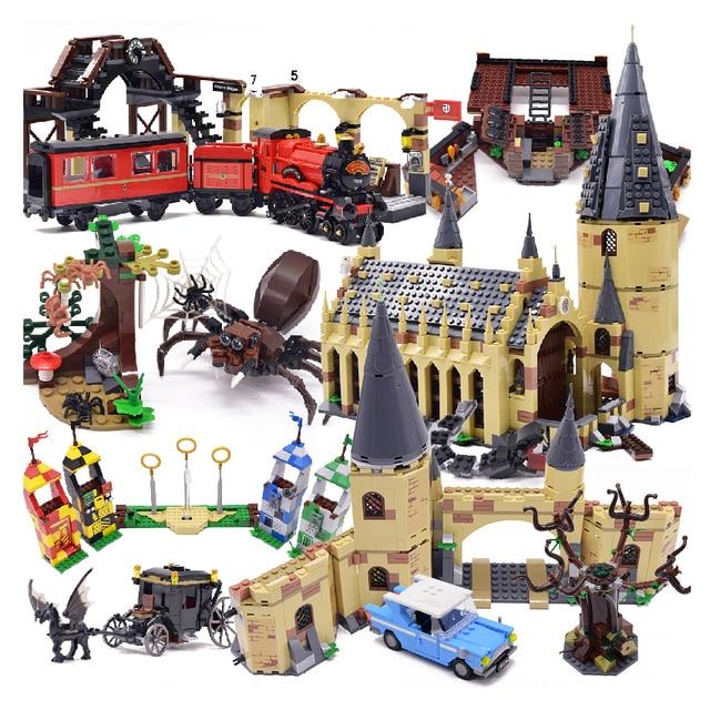 Movie Harri Pottered Hogwarte Castle Express Train Magic House Building Block  Bricks Toy for Children