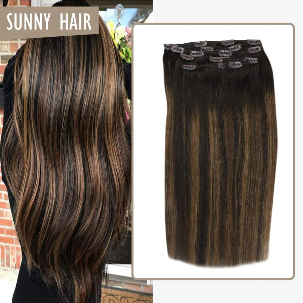 VeSunny Clip On Real Human Hair Extensions Double Weft 7pcs Clip In Extensions Balayage Ombre Brown Highlighted #2/2/6 120gr
