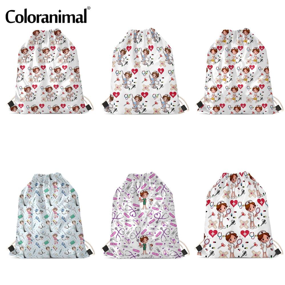 Coloranimal 2020 Drawstring Bag Kawaii Cartoon Nurse Printting Soft Beach Bags Teenager Girls Ladies Backpack Travel Bags Sac