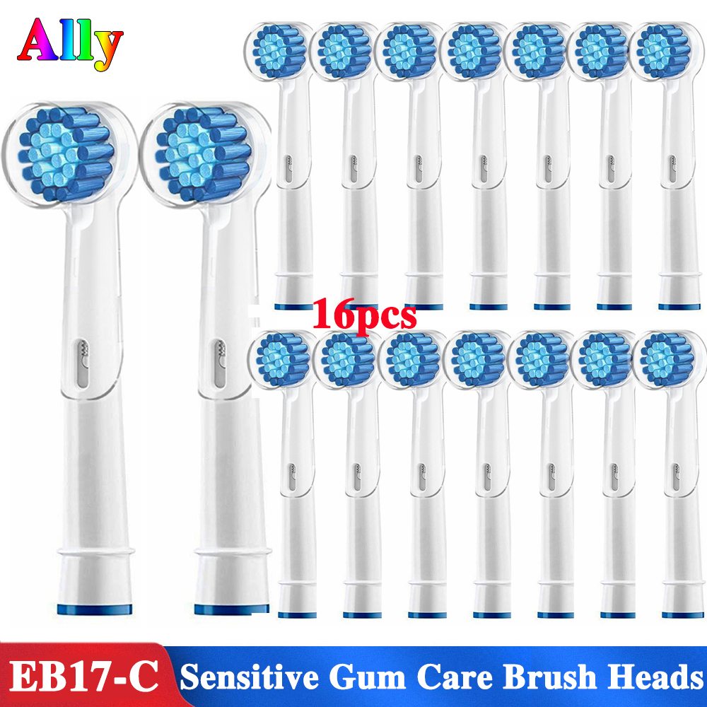 16PCS Electric Toothbrush heads Sensitive Gum Care Replacement Brush Heads For Braun Oral B Triumph Plak Control 3D Duo Travel image