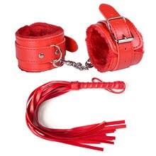Jogo de bondage para bdsm e tornozelo, 2 peças, punho de pelúcia com corda de chicote, acessórios eróticos, handcuffs, brinquedos sexuais adultos para mulheres casais