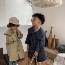 Children's Long Trench Coat Boys and Girls Lapel Fashion Jackets Toddler Outwear