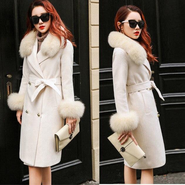 Véritable fourrure de renard col à manches longues cousu à la main polaire cachemire manteau longue femme laine manteau rf0165